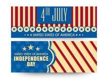 Websitetitelrad eller baner för amerikansk självständighetsdagen Royaltyfria Foton