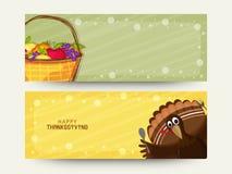 Websitetitelrad eller baner för tacksägelsedag royaltyfri illustrationer