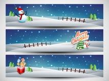Websitetitelrad eller baneruppsättning för beröm för glad jul Arkivfoto