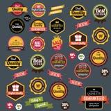 Webstickers, banners en etiketten De markeringspictogrammen van de verkooppijl Het symbool van de kortingsspeciale aanbieding Stock Afbeeldingen