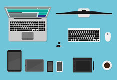 WebVector top view flat devices. Laptops, tablets, smartphones and desktop set for banners editing. WebVector top view flat devices. Laptops, tablets Stock Photography