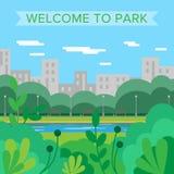 WebWelcome a estacionar Fundo do vetor Parque da cidade nave verão ilustração stock