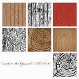 Webwooden背景汇集传染媒介例证 设计的木纹理元素 皇族释放例证