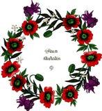 Webwreath de las amapolas y del otro ejemplo del vector de las flores stock de ilustración