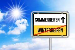Wechseln do auf Sommerreifen de Von Winterreifen Pneus em mudança do inverno aos pneus do verão Fotos de Stock Royalty Free