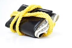Wechseln Sie Geldbörse mit Seil um es schützendes Geld herein darstellend ein lizenzfreies stockbild