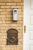 Wechselsprechanlage und Briefkasten an der Tür stockfotos