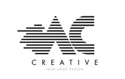 Wechselstrom A.C. Zebra Letter Logo Design mit Schwarzweiss-Streifen Stockbilder