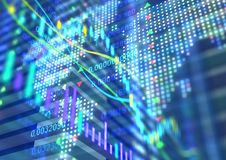 Wechselwirkende Finanzzitate und technische Analyse Stockfotos