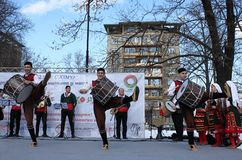 Wecken mit horo - bulgarischer traditioneller Tanz Stockfotos