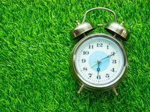 Wecker auf grünem Rasen Stockfotos