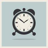 Wecker auf Retro- Hintergrund-Vektor Lizenzfreie Stockfotos