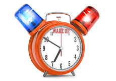 Wecker mit einem Blitzgeber mit der Aufschrift wachen auf Lizenzfreie Stockfotos