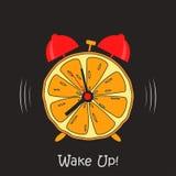 Weckerdesign mit orange Scheibenfrucht Kreativ wachen Sie Plakat auf Vektor vektor abbildung