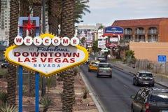 Weclome nach im Stadtzentrum gelegenes Las Vegas - Zeichen Lizenzfreie Stockfotos