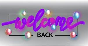Weclome plecy purpurowy literowanie i lotniczy balony ilustracji