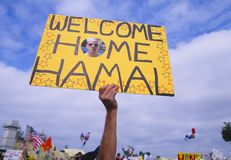 Wecome home sign. A wecome home sign for a returning sailor royalty free stock photos