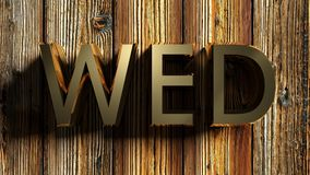 WED brass write on raw wood - 3D rendering Royalty Free Stock Images