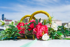 Wed car decoration Royalty Free Stock Photo