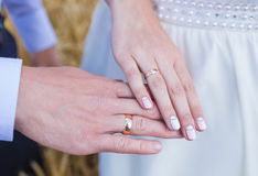 Wed couple's hands with wedding rings Stock Image