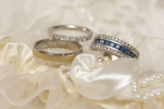 Wed Rings. Three wedding rings with diamonds and gems Royalty Free Stock Photography