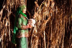 Wedded bruid onlangs het stellen Stock Foto