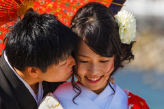 Wedded Couple in Kyoto Royalty Free Stock Image