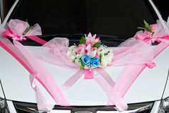 The weddig flowers decoration on the car Royalty Free Stock Images
