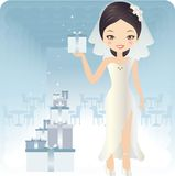 Weddind Day. Pretty bride wearing a gift in the weddding reception room Stock Images