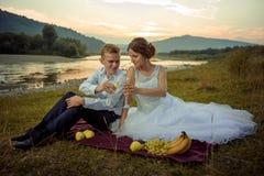 Wedding внешняя съемка Привлекательные счастливые молодые новобрачные clinking стекла с шампанским во время их пикника на Стоковая Фотография RF