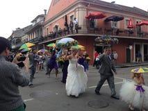 Wedding вторая линия в французском квартале Стоковая Фотография RF