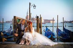 Wedding в Венеции на заходе солнца Стоковые Изображения