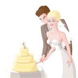 Wedding, жених и невеста отрезал торт Стоковое Фото