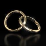Wedding золотистые кольца - на черноте Стоковые Фотографии RF