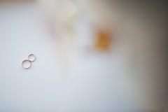 2 wedding золотых кольца на белой предпосылке Стоковые Изображения