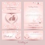 Wedding комплект, пинк шаблона Стоковые Фотографии RF