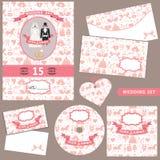 Wedding комплект шаблона дизайна Украшение картины Стоковое фото RF