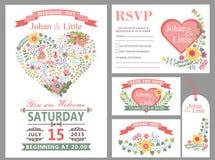 Wedding комплект шаблона дизайна Флористическое оформление сердца иллюстрация вектора