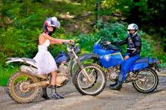 Wedding на мотоцикле Стоковая Фотография