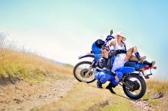 Wedding на мотоцикле Стоковые Изображения RF