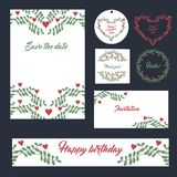 Wedding поздравительные открытки шаблонов установленного дизайна канцелярских принадлежностей установленные Бесплатная Иллюстрация