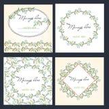 Wedding поздравительные открытки шаблонов установленного дизайна канцелярских принадлежностей установленные Иллюстрация вектора