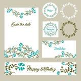 Wedding поздравительные открытки шаблонов установленного дизайна канцелярских принадлежностей установленные Стоковая Фотография