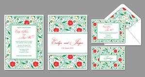 Wedding пригласите, конверт, rsvp, карточка праздника Дизайн с красным po иллюстрация вектора