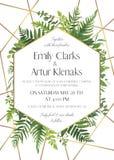 Wedding пригласите, сохраньте дизайн карточки даты с естественными листьями растительности леса, папоротниками, тропическими лист иллюстрация штока