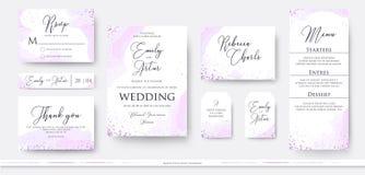 Wedding пригласите спасибо, дизайн карточки меню rsvp установленный с abstrac иллюстрация вектора