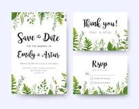 Wedding пригласите, флора вектора карточки rsvp меню приглашения спасибо Стоковое Фото