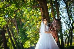 Wedding прогулка на природе с лошадью Стоковое Изображение