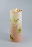 Wedding свеча с кольцами Стоковое фото RF