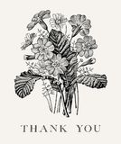 Wedding спасибо и приглашение Вектор рамки карточки PrÃmula цветков стоцвета красивый реалистический гравируя викторианскую иллюс Стоковые Изображения RF